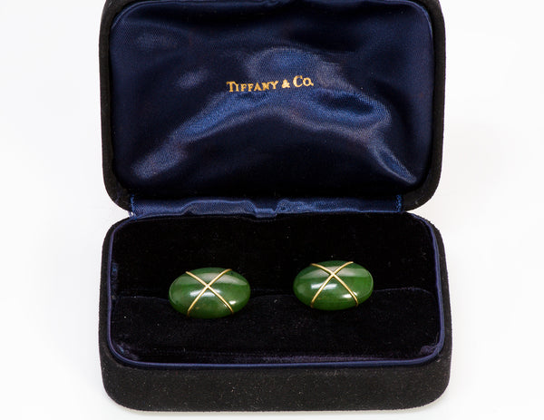 Tiffany & Co. Jade 18K Gold Cufflinks