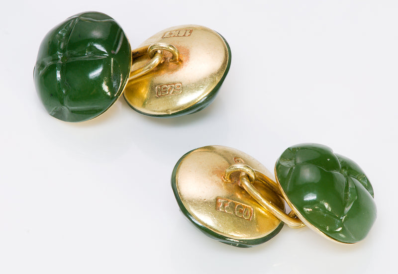 Tiffany & Co. Vintage Gold Jade Cufflinks