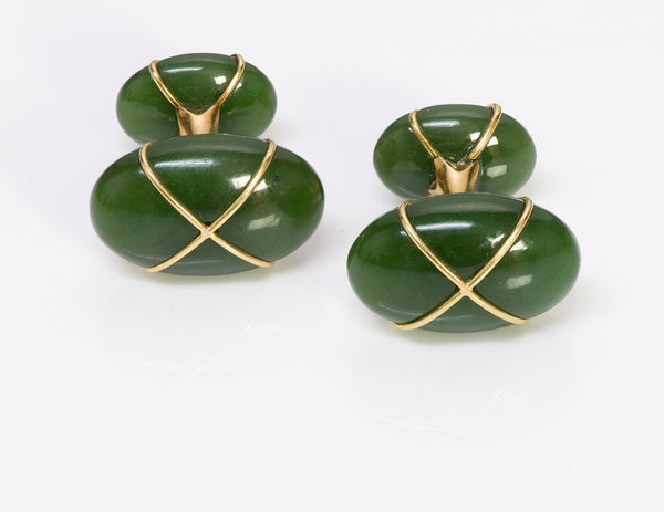 Tiffany & Co. Jade 18k Gold Cufflinks 1