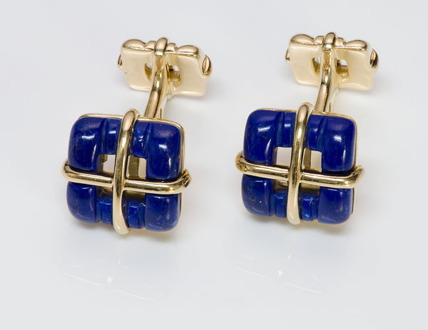 Tiffany & Co. Biscayne 18K Gold Lapis Cufflinks