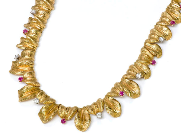 Tiffany & Co. 18K Gold Ruby Diamond Necklace 1