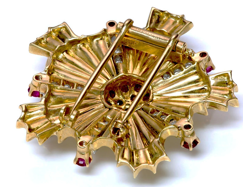 Tiffany & Co. Starburst Ruby Diamond 18K Gold Pin Brooch 2
