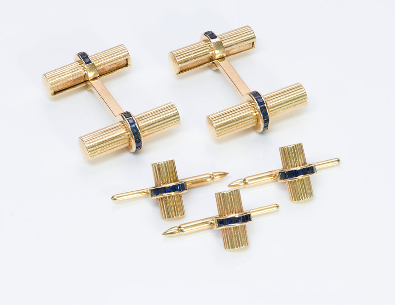Tiffany & Co. Sapphire Gold Baton Bar Cufflinks Stud