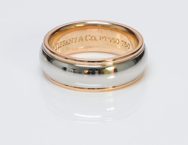Tiffany &  Co. Wide Platinum Gold Wedding Band Ring