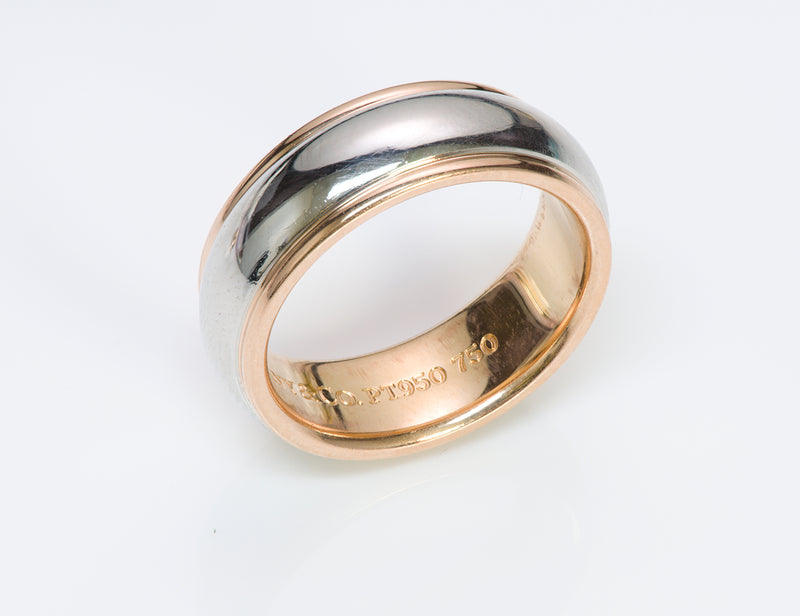 Tiffany &  Co. Wide Lucida Platinum Gold Wedding Band Ring