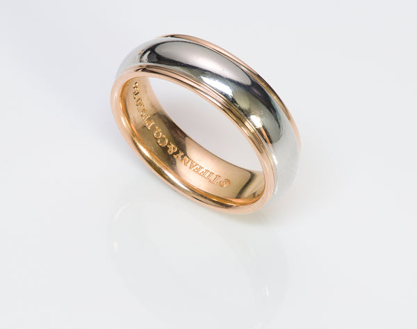 Tiffany &  Co. Lucida Platinum 18k Gold Wedding Band Ring
