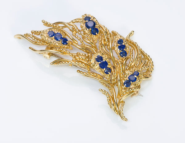 Tiffany & Co. 18K Yellow Gold Sapphire Brooch