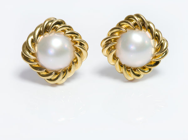 Tiffany Co Gold Pearl Earrings