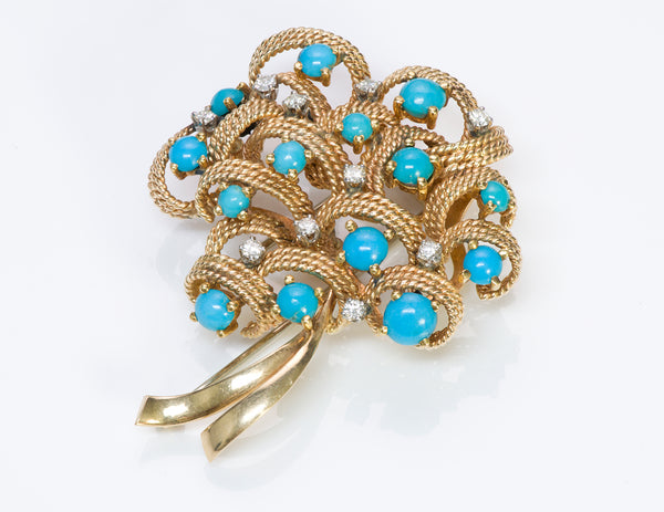 Tiffany & Co. Gold Turquoise Diamond Brooch