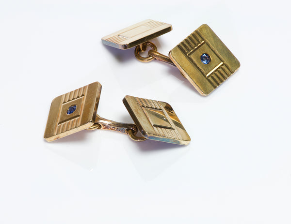 Vintage Tiffany Co. Gold Sapphire Cufflinks