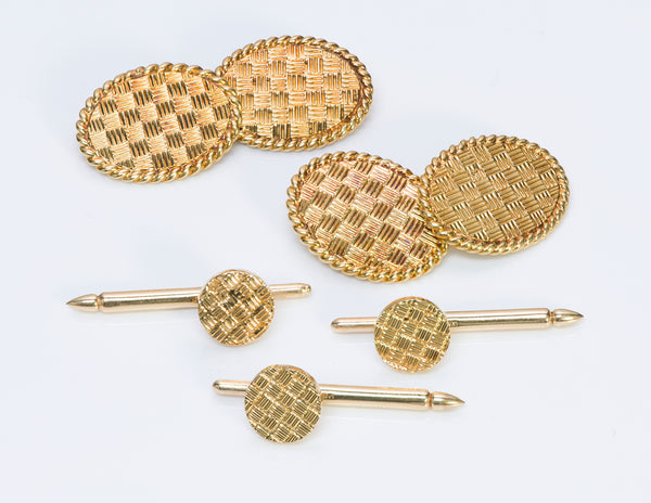 Tiffany  Co Gold Basket Weave Cufflinks Stud set
