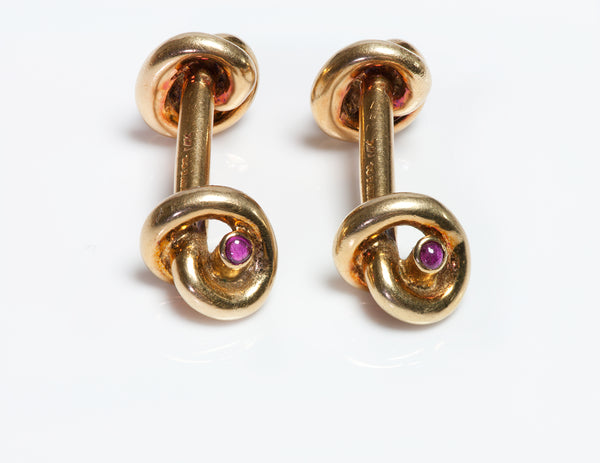 Tiffany & Co. Gold Ruby Knot Cufflinks