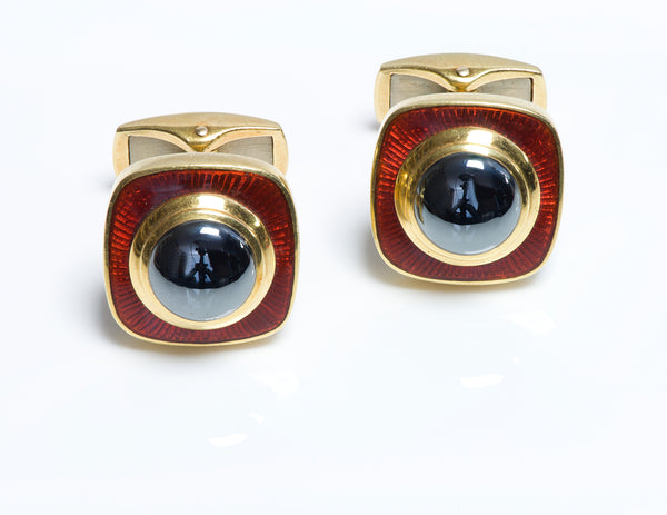 Tiffany & Co. De Vroomen 18K Gold Hematite Enamel Cufflinks