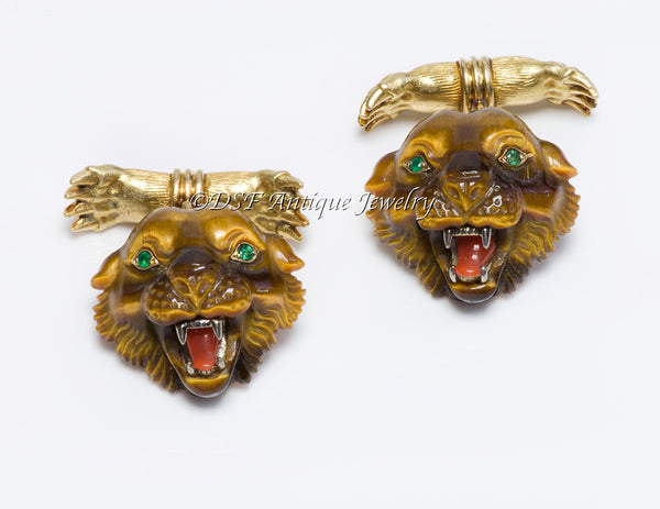 Tiffany Co. 18K Gold Tiger Head Claw Cufflinks