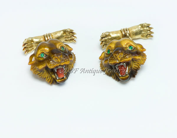 Tiffany Co. 18K Gold Tiger Head Claw Emerald Cufflinks