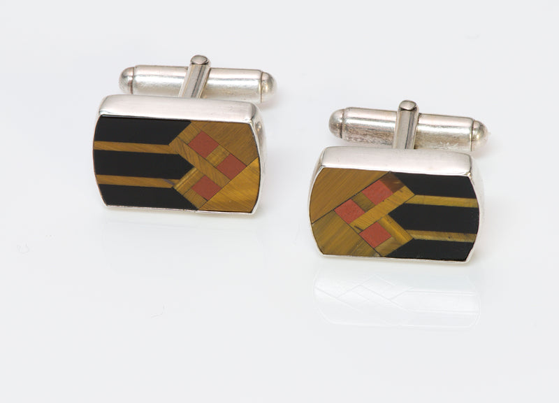 Tiger Eye Silver Cufflinks