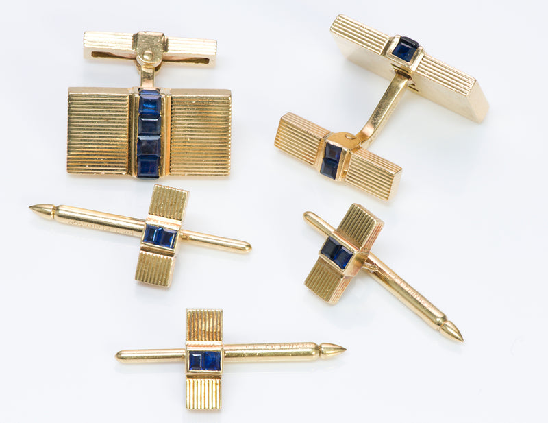 Vintage Tiffany Co. Gold Sapphire Cufflinks Dress Set