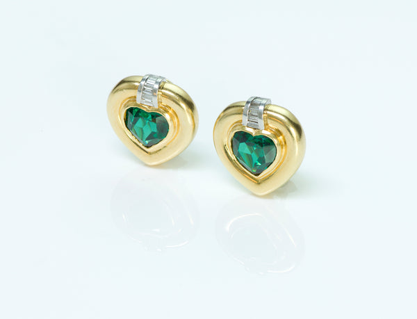 Heart Tourmaline Diamond Gold Earrings