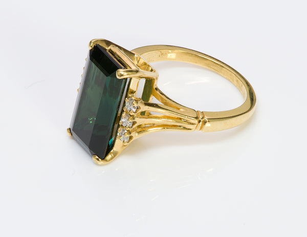 Tourmaline Diamond 18K Gold Ring