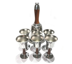 Vintage Town Crier Bell Shaker and 6 Bell Cups