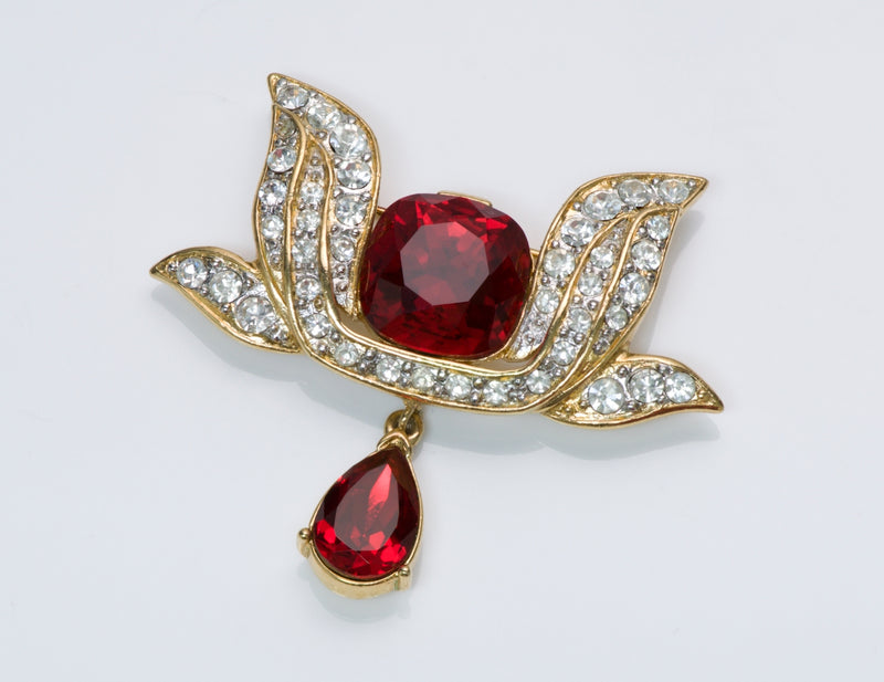 Trifari Red Crystal Brooch