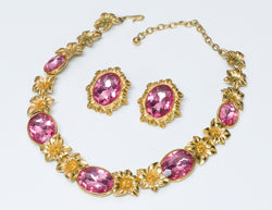 Trifari Kunio Matsumoto Pink Crystal Necklace Earrings