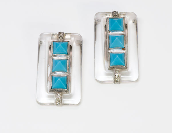 Trifari Alfred Philippe Art Deco Style Faux Turquoise Crystal Clips