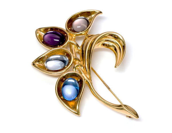 Trifari Gold Tone Glass Flower Brooch