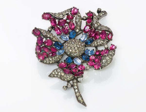 Trifari Alfred Philippe 1940's Pink Blue Crystal Flower Brooch