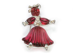 Trifari Alfred Philippe Red Glass Rag Doll Brooch