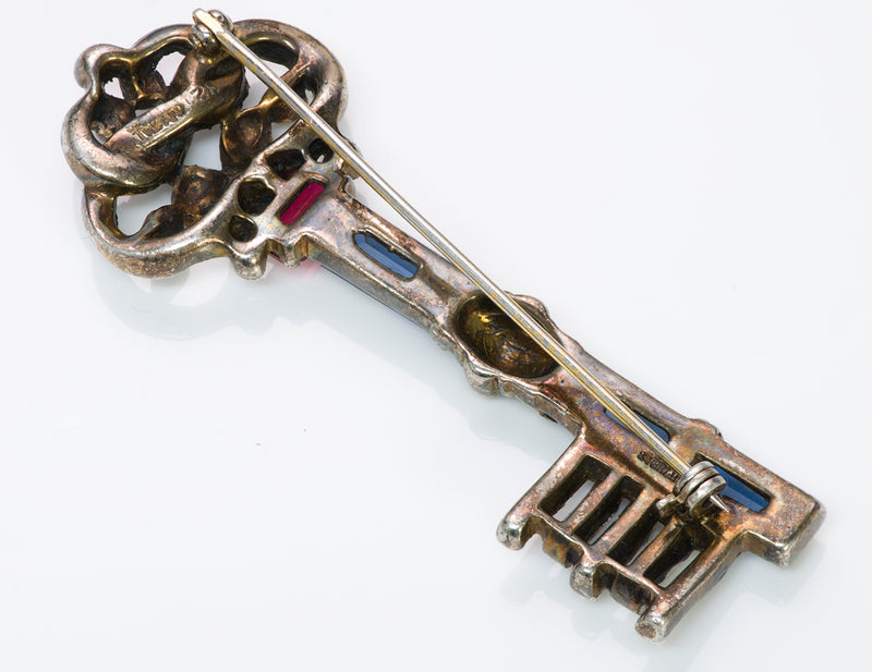 Alfred Philippe Trifari 1940's Blue Crystal Key Brooch