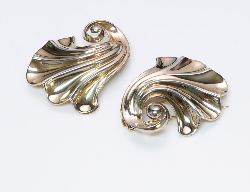 Vintage Trifari Sterling Silver Swirl Clips 1