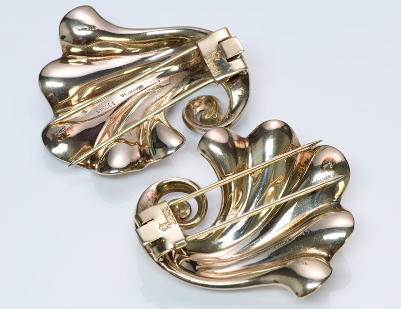 Vintage Trifari Sterling Silver Swirl Clips 3