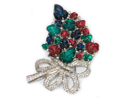 Trifari Alfred Philippe Tutti Frutti Carved Glass Brooch