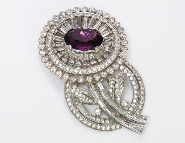 Trifari 1940's Alfred Philippe Purple Crystal Flower Brooch