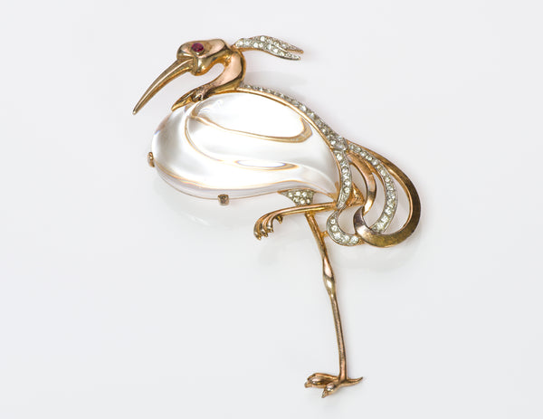 Trifari Alfred Philippe Sterling Silver Jelly Belly Heron Brooch