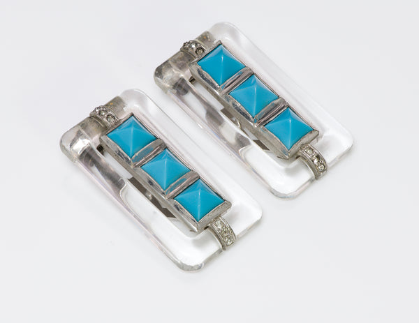 Trifari 1930's Alfred Philippe Art Deco Style Faux Turquoise Crystal Clips