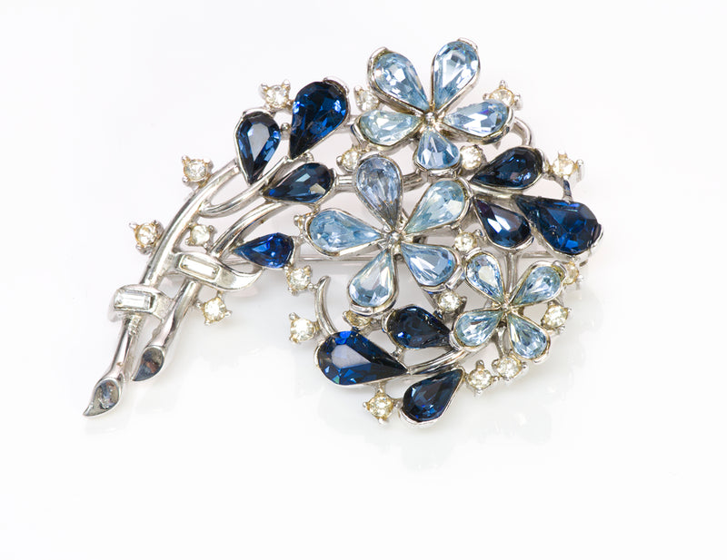 Trifari 1940's Alfred Philippe Blue Crystal Flower Brooch