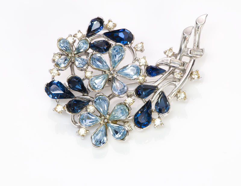 Trifari 1940 Alfred Philippe Blue Crystal Flower Brooch