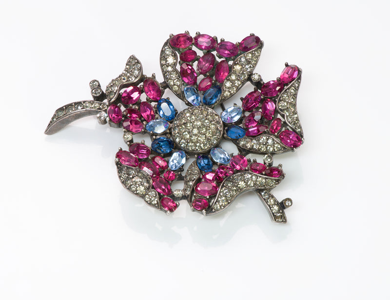 Vintage Trifari Alfred Philippe Pink Blue Crystal Flower Brooch