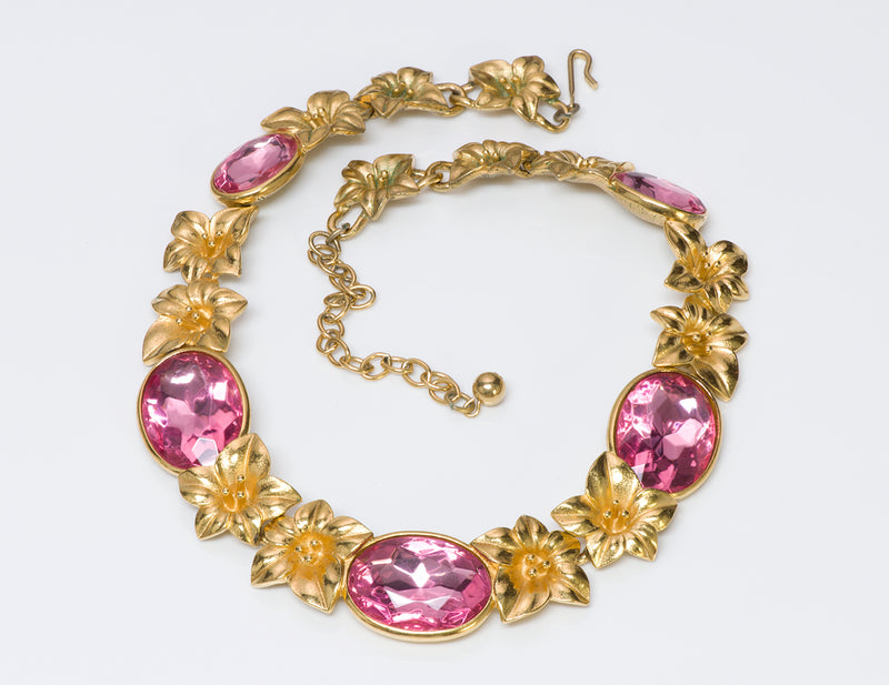 Trifari Kunio Matsumoto Pink Crystal Necklace