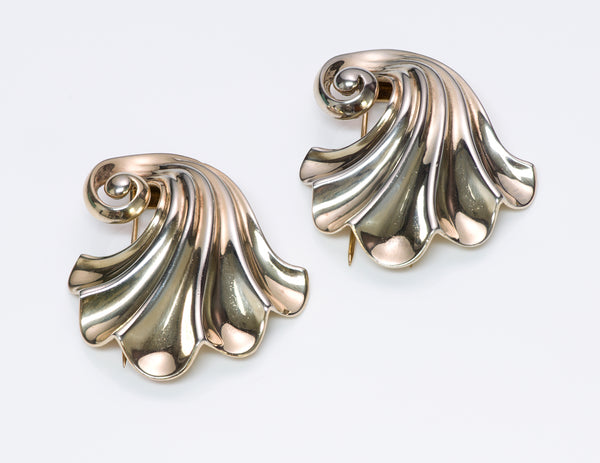 Vintage Trifari Sterling Silver Swirl Clips