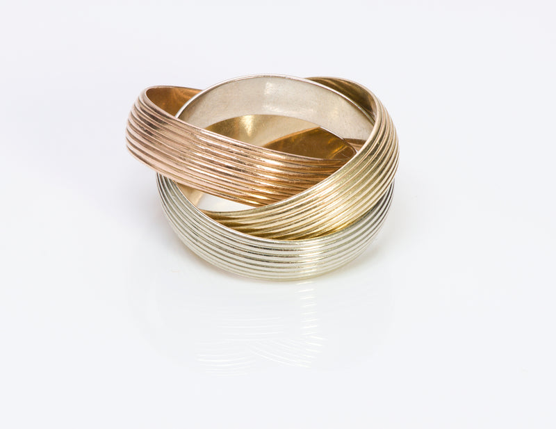 Trinity Wide Gold Band Ring Infinity