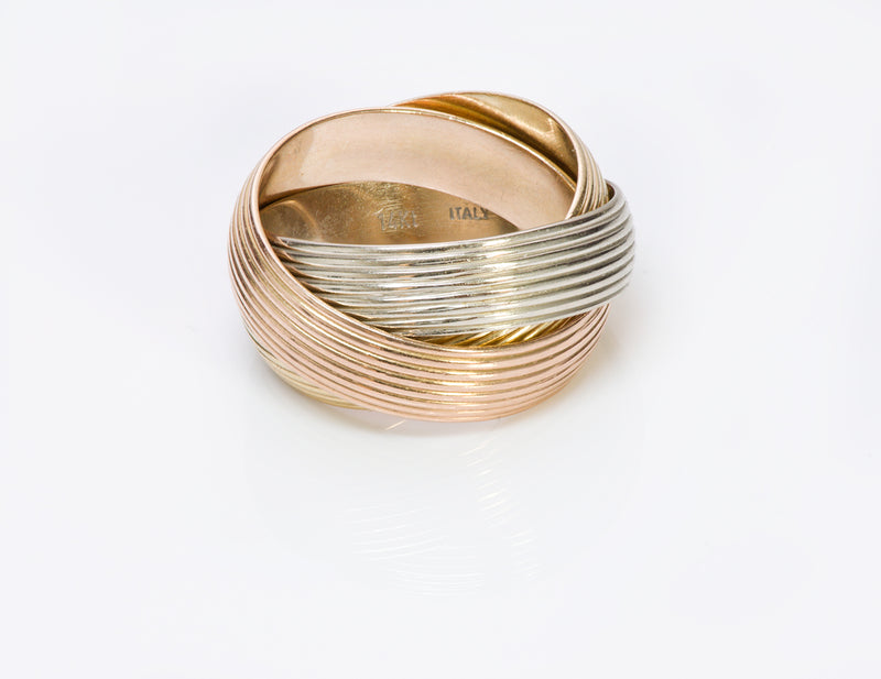 Trinity Wide Gold Band Ring 1