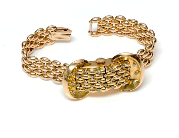 Universal Geneve 18K Gold Diamond Watch Bracelet