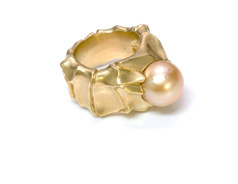 Modernistic V. Stern 18K Yellow Gold Pearl Ring