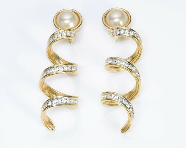 VALENTINO Garavani Long Swirl Crystal Pearl Earrings