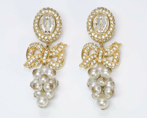 VALENTINO Garavani Long Crystal Pearl Bow Earrings