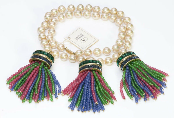 VALENTINO Garavani Couture Pearl Glass Beads Tassel Necklace