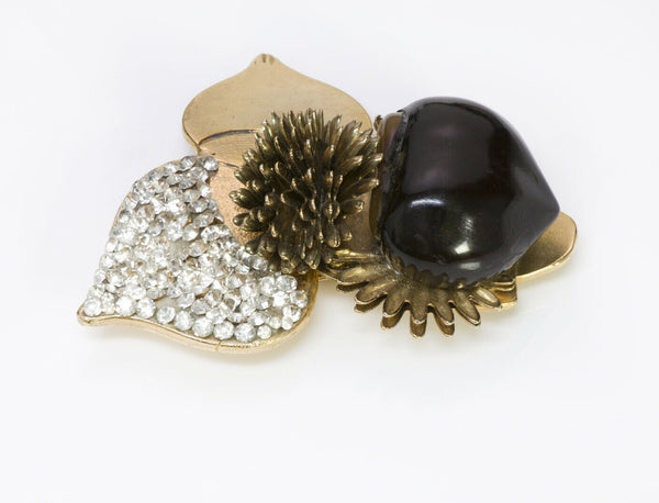 VALENTINO Garavani C Glass Chestnut Brooch